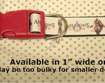 """Assasin's Creed 1"""" wide Adjustable Dog collar with Sword charm LEASH Available"""