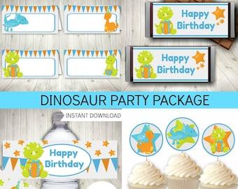 Dinosaur Party Printable Set, Birthday Decorations, Dinosaur, Boys, Instant Download, Printable PDF Files