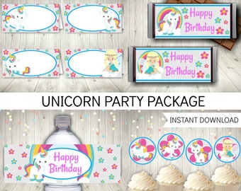 Unicorn Party Package, Birthday Package, Printable Instant Download
