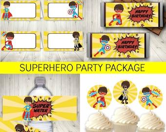 Superhero Party Package, Superhero Birthday Decoration, Printable Instant Download + FREE Superhero Invitation