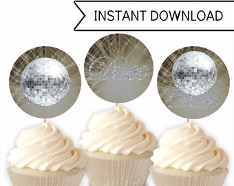 Printable Disco Party Cupcake Toppers, Printable Cupcake Decorations, Instant Download