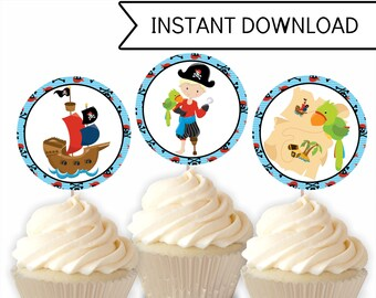 Pirate Cupcake Toppers, Pirate Birthday, Pirate Printable, Boys Party, PDF Download