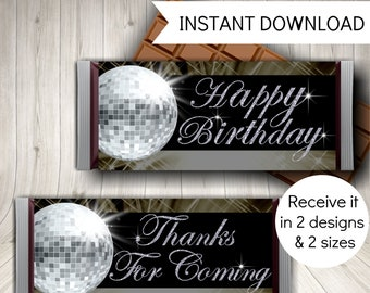 Printable Disco Party Candy Bar Wrappers, Disco Favors, Chocolate Bar Labels, Instant Download