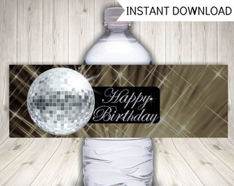 Disco Party Water Bottle Labels, Mirror Ball Party Decoration, Instant Printable Download