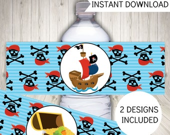 Pirate Party Water Bottle Labels, Birthday Party Decor, Instant Download Printable Labels