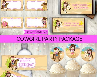 Cowgirl Party Package, Cowgirl Birthday Decoration, Printable Instant Download