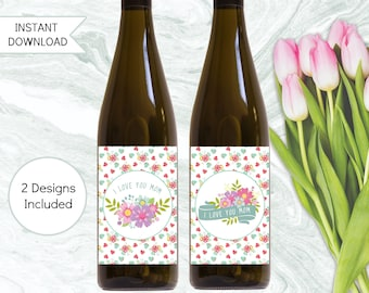 Mom Gift Wine Labels, Printable Mothers Day Gift, Instant Download