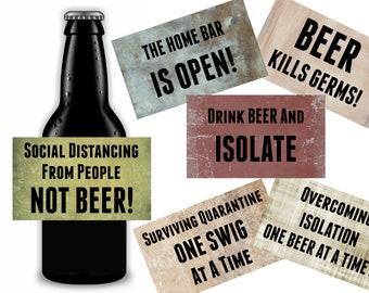 Quarantine Beer Labels, Social Isolation Gift, Easy Gift For Him, Printable Instant Download