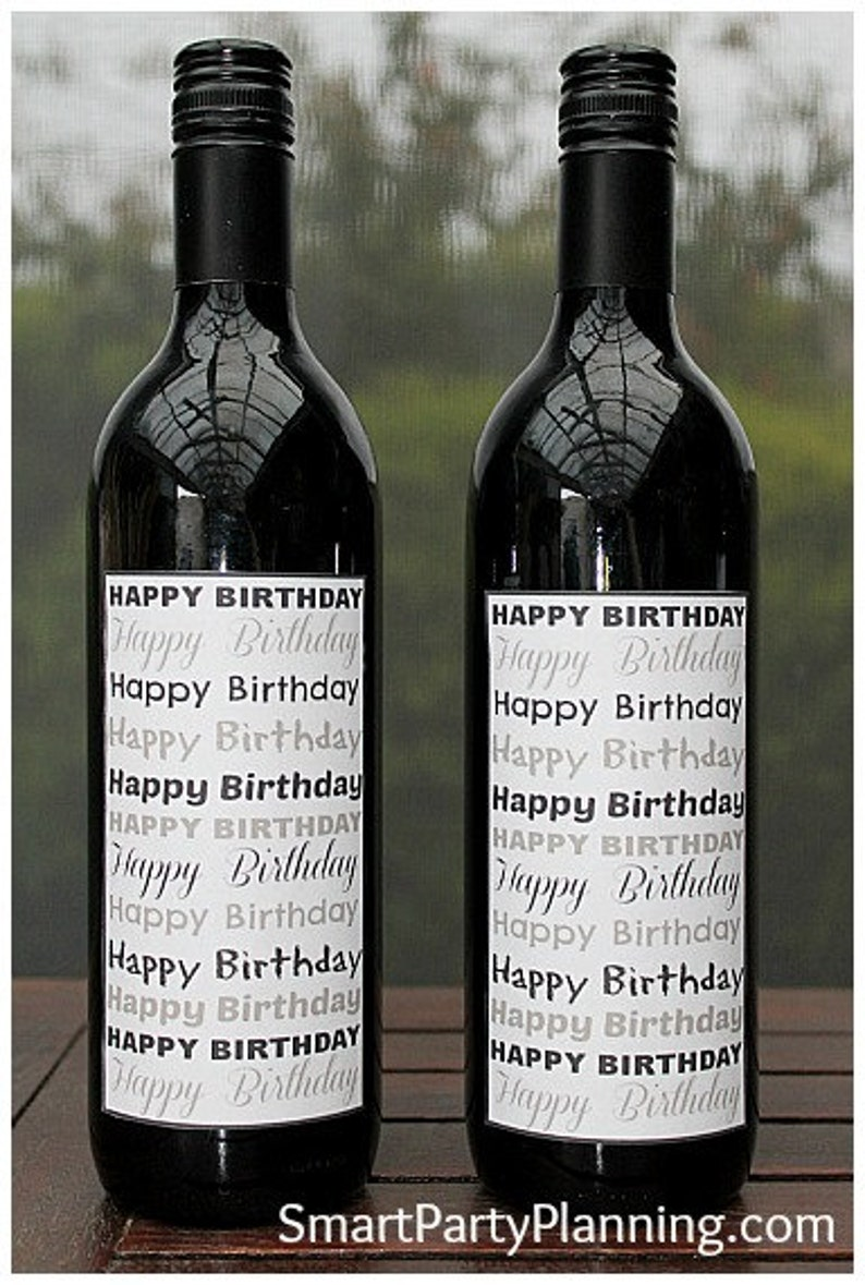 photograph relating to Printable Wine Label named Pleased Birthday Wine Labels / Printable Wine Label