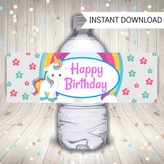 Unicorn Water Bottle Labels, Unicorn Birthday Party by Smart Party