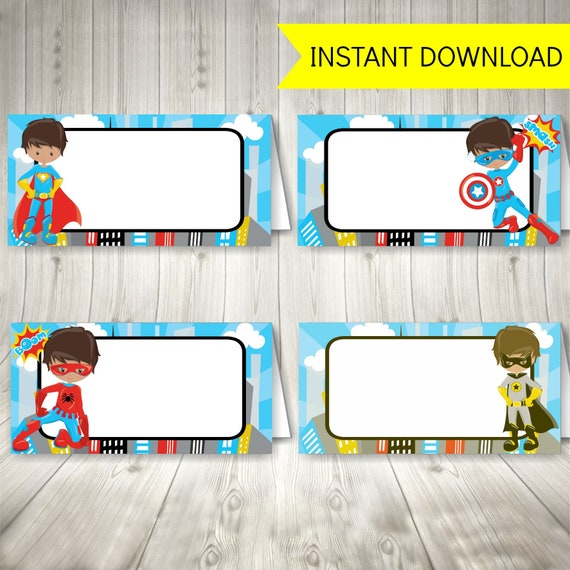 graphic relating to Free Printable Super Hero Invitations named Superhero Get together Foods Tent Labels, Printable Superhero