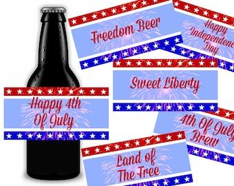 4th of July Beer Labels, Patriotic Gift, Printable Instant Download