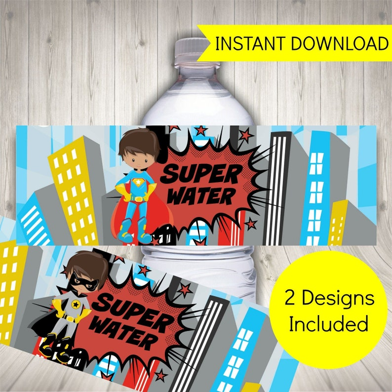 image about Free Superhero Party Printable called Superhero Celebration H2o Bottle Labels, Printable Labels + Free of charge Superhero Invites