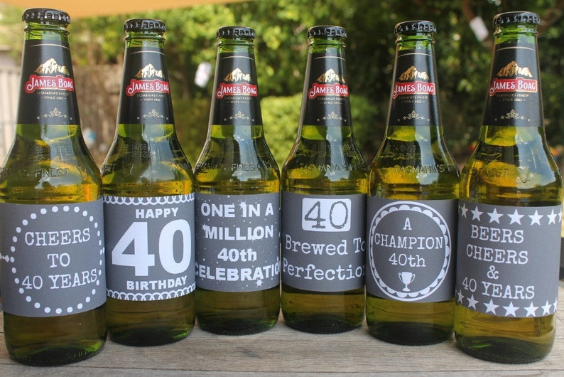Printable 40th Birthday Beer Labels Fortieth Birthday 40th image 0