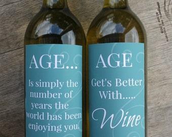 Aged Printable Wine Bottle Labels