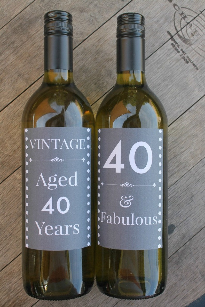40th Birthday Wine Labels / Chalk Board / Milestone / Birthday image 0