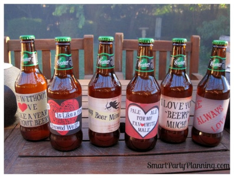 photograph about Printable Beer Labels named Valentines Working day Printable Beer Labels / Beer Reward / Fast Down load / Printable PDF Data files