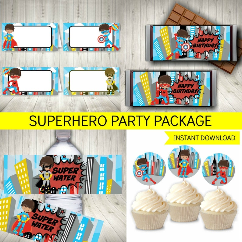 photograph relating to Free Superhero Party Printable referred to as Superhero Social gathering Deal, Printable Immediate Obtain + Totally free Superhero Invitation