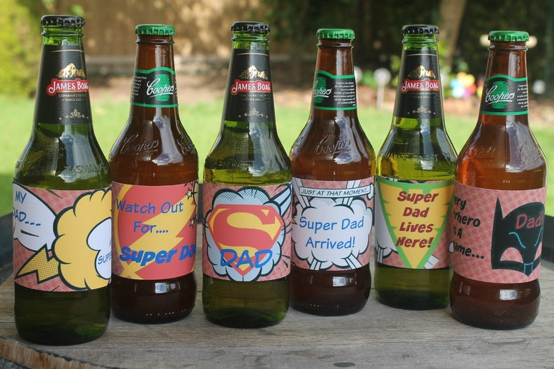 photograph about Printable Beer Labels identified as Tremendous Father Beer Labels / Father / Fathers Working day / Birthday / Superhero / Immediate Obtain / Printable PDF Documents