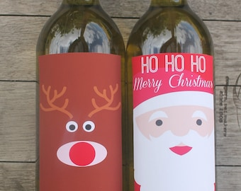 Santa & Rudolf Christmas Wine Bottle Labels