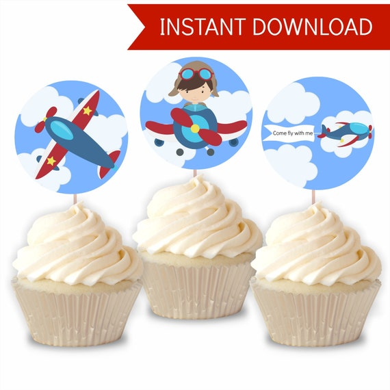 Airplane cupcake topper cupcake topper vintage airplane cupcake topper places you will go party in the air party airplane party planes