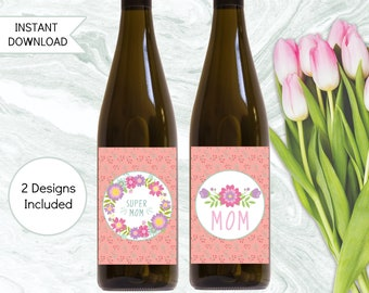 Mother's Day Gift, Birthday Gift For Mom, Printable Wine Labels, Instant Download