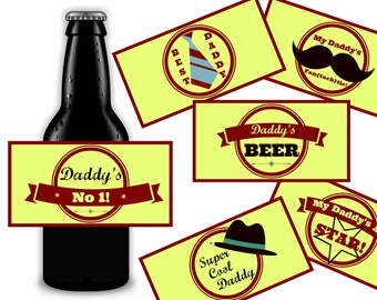 Beer Labels For Daddy, Father's Day Gift, Birthday Gift For Dad, Printable Instant Download
