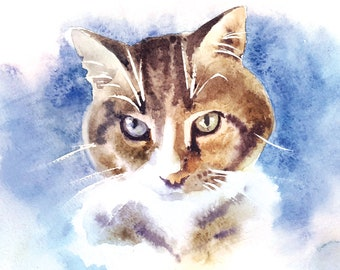 "Watercolour cat portrait from photo, Original  pet painting, Portrait painting 11 x 8"" Original art painting, Pet memorial painting cat"