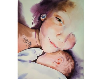 Mother with Baby Portrait Custom Watercolor From Your Photographs Original Art Painting Made to Order  Sketch From Your Photo ArtWork