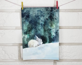 White Hare Original Painting Watercolor  5x7 hand painted postcard Painting Bunny light blue art Artwork