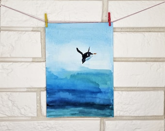 Penguin Original Painting Watercolor  5x7 hand painted postcard Painting Blue light blue art Artwork