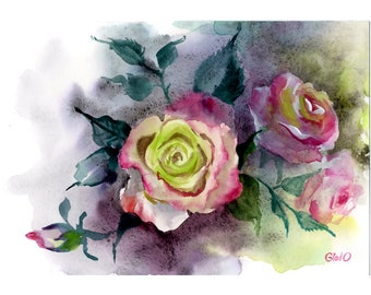 Roses Original Painting Flowers Botanical Painting Pink Roses  Watercolor Painting Of Roses Flowers Artwork