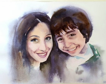 """Custom portrait, Watercolor, from your photographs. Original art painting. Made to order. 8x11"""" A4 - Sketch From Your Photo"""