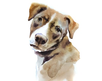 Custom Pet Portrait Watercolor Dog Portrait From Photo Original Painting Portrait Watercolor Painting Dog Art
