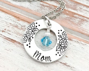 Mothers Day Mom Birthstone Washer Necklace Custom Hand Stamped Pendant Personalized For Her Grandma Gigi Daughter Aunt Sister Godmother Gift