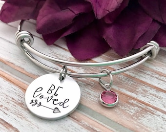 Be Loved Faith Inspired Hope Gift For Her Simple Bold Inspirational Unique Dainty Charm Bracelet