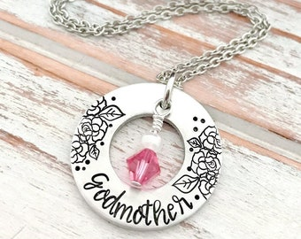 Mothers Day Godmother Birthstone Washer Necklace Custom Hand Stamped Pendant Personalized For Her Grandma Gigi Mom Daughter Aunt Sister Gift