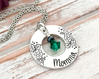 Mothers Day Momma Birthstone Washer Necklace Custom Hand Stamped Pendant Personalized For Her Grandma Daughter Aunt Sister Godmother Gift