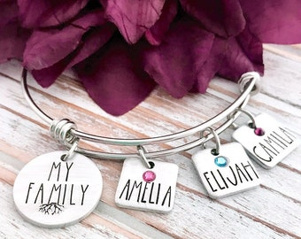 My Family Roots Rooted Wife Mom Mother Momma Grandmother Mother's Day Gift Birthstone Personalized For Her Bracelet