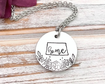 North Dakota Home ND State Outline Pendant Charm Necklace State Pride Floral Prairie Rose Jewelry