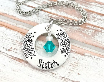 Mothers Day Sister Birthstone Washer Necklace Custom Hand Stamped Pendant Personalized For Her Gift Grandma Mom  Daughter Aunt Godmother