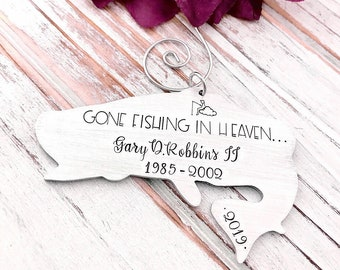 Gone Fishing In Heaven Keepsake Memorial Christmas Ornament Fishing In The Clouds Remembrance Grieving Gift Rearview Mirror Hanger