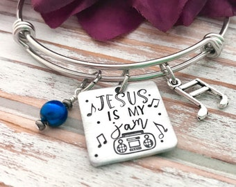 Jesus Is My Jam Stereo Boombox Bracelet Gospel Music Hymns Faith Jewelry Christian Hand-Stamped Music Bangle Gift For Her