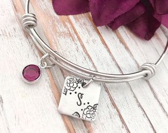 Initial of Name Expandable Bracelet Birthstone Personalized Wedding Jewelry Maid of Honor Bridesmaid Flowergirl  Daughter Gift For Her