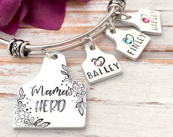 Mamas Herd Cattle Tag Cow Ear Rancher Wife Mom Mother Momma Grandmother Mother's Day Gift Birthstone Personalized For Her Bracelet
