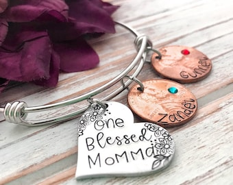 One Blessed Grandma Mom Mother Penny of Children's Birth Year Grandmother Gift Personalized For Her Expandable Bangle Bracelet