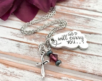 God Will Carry You Isaiah 43:2 Bible Verse Inspirational Gift Faith Reminder Cross Footprints Religious Christian Never Alone He Is With You
