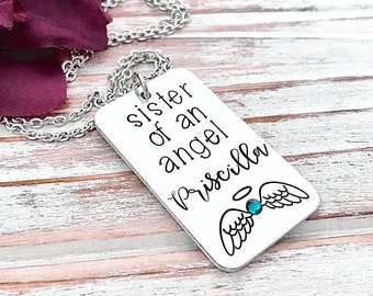 Sister Of An Angel Necklace Infant Pregnancy Loss Memorial Necklace Baby Keepsake Miscarriage Pendant Grief Grieving Sister Sibling Gift
