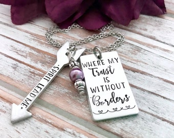 Spirit Lead Me Where My Trust Is Without Borders Arrow Pendant Necklace Led By the Holy Spirit Bible Faith Based Jewelry Gift