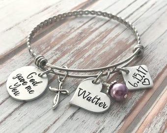 God Gave Me You - New Mom Bracelet - Custom Adoption Bangle - Personalized Mother - Grandma - New Baby